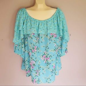 Relativity floral blue green blouse size 2x